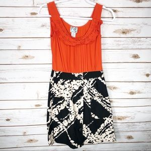 Tabitha by Anthropologie Coral and Black Dress